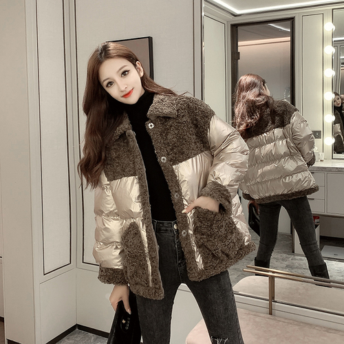 FMFSSOM Autumn Winter Fuax Lamb Patchwork Turn-Down Collar Loose Women Female Lady Cotton Coat Jacket Outerwear