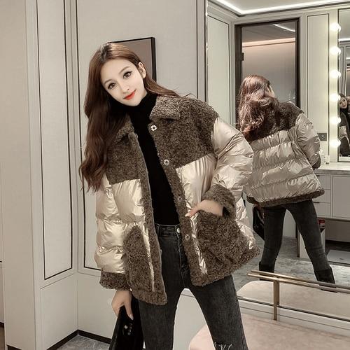 FMFSSOM Autumn Winter Fuax Lamb Patchwork Turn-Down Collar Loose Women Female Lady Cotton Coat Jacket Outerwear
