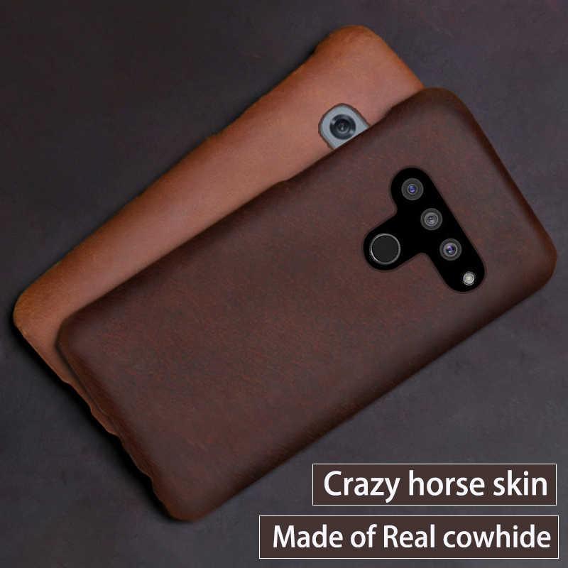 حقيقية الجلود الهاتف حقيبة لجهاز LG G8s V50 V10 V20 V30 V30S V40 G3 G4 G5 G6 G7 G8 G8X Q6 Q7 Q8 ThinQ K40 مجنون الحصان الجلد غطاء