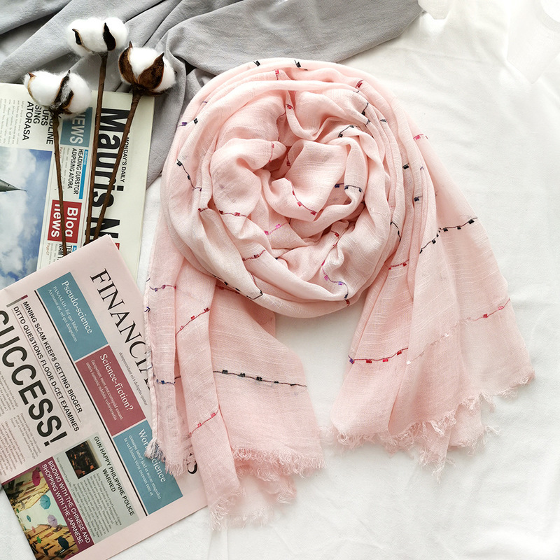 2019 Hot Sale Scarves Women Plaid 2019 Cotton Linen Scarf Gift For Lady Tassel Pattern Pashmina Echarpe Cape Shawls And Wraps