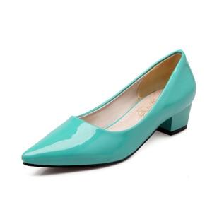Image 1 - ZawsThia cheap stock clearance patent PU leather woman block high heels stiletto office lady pumps women shoes big size 41 43 44