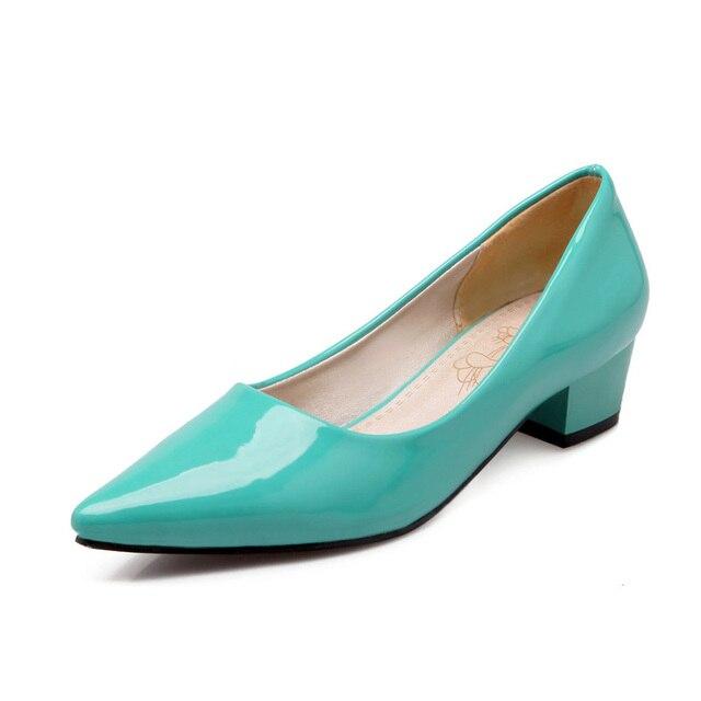 ZawsThia cheap stock clearance patent PU leather woman block high heels stiletto office lady pumps women shoes big size 41 43 44
