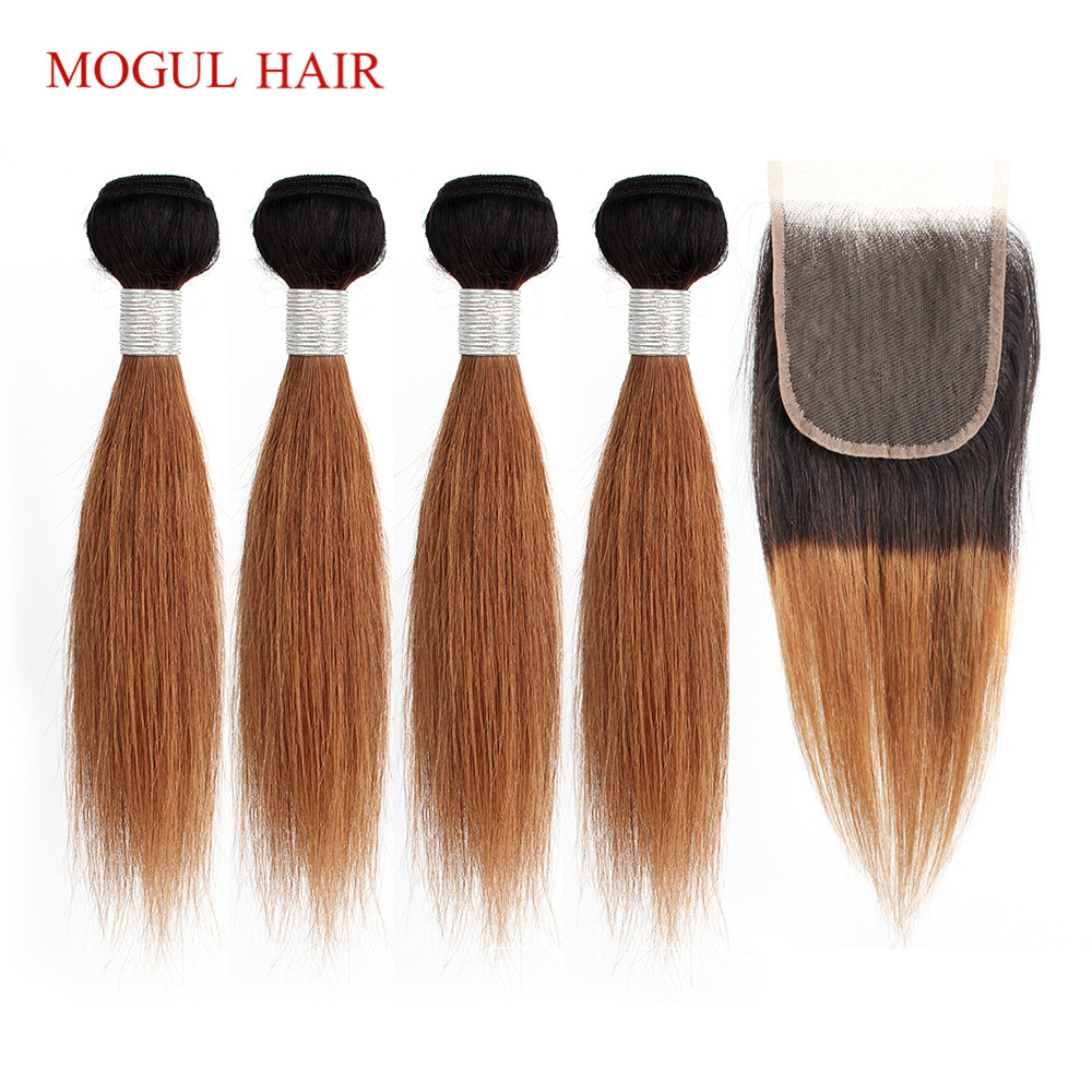 MOGUL HAIR 50g/pc 4 Bundle With Closure Honey Blonde Bundles With Closure T 1B 27 Brazilian Straight Ombre Non Remy Human Hair