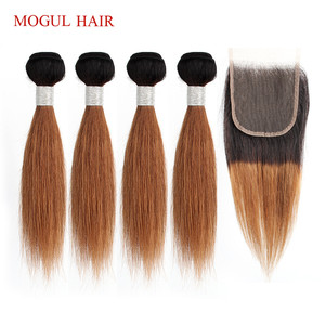 Image 1 - MOGUL HAIR 50g/pc 4 Bundle with Closure Honey Blonde Bundles With Closure T 1B 27 Brazilian Straight Ombre Non Remy Human Hair