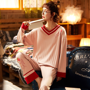 Image 5 - BZEL V Neck Sleepwear For Women Black Pajamas Sets Cute Bow Nighty Long Sleeves Long Pans Pijamas Pyjamas Cotton Casual Homewear