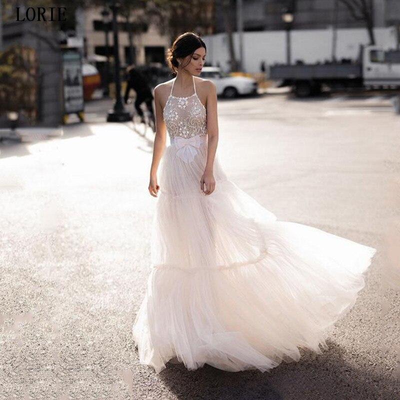 LORIE Beach Lace Wedding Dress A Line Halter Neck Boho Bride Dress Wedding Gowns Vestidos De Novia Backless