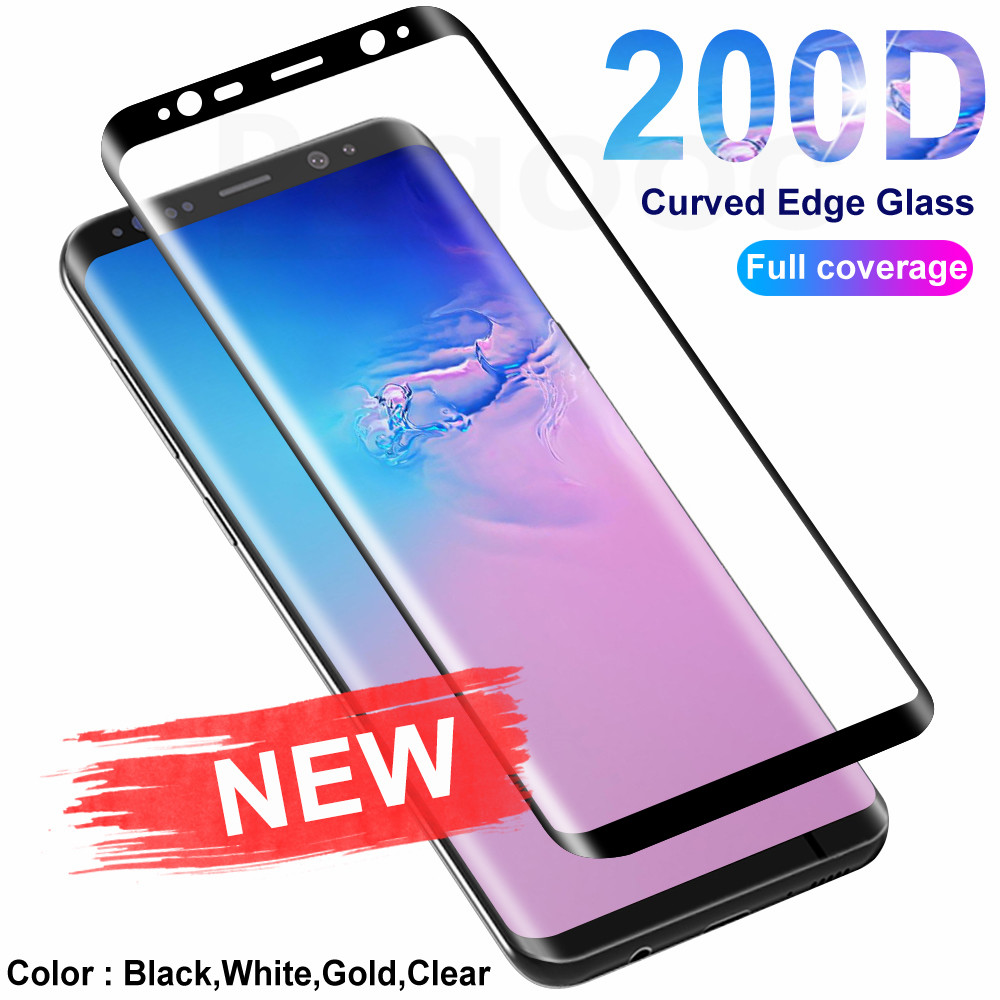 200D Curved Edge Protective Glass On For Samsung Galaxy S8 S9 S10 Plus S10E S7 Note 8 9 10 Screen Protector Tempered Glass Film