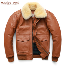 Jacket Coat QUILTED Air-Force Winter Men 100%Cowhide Man Collar Thick Removable M176