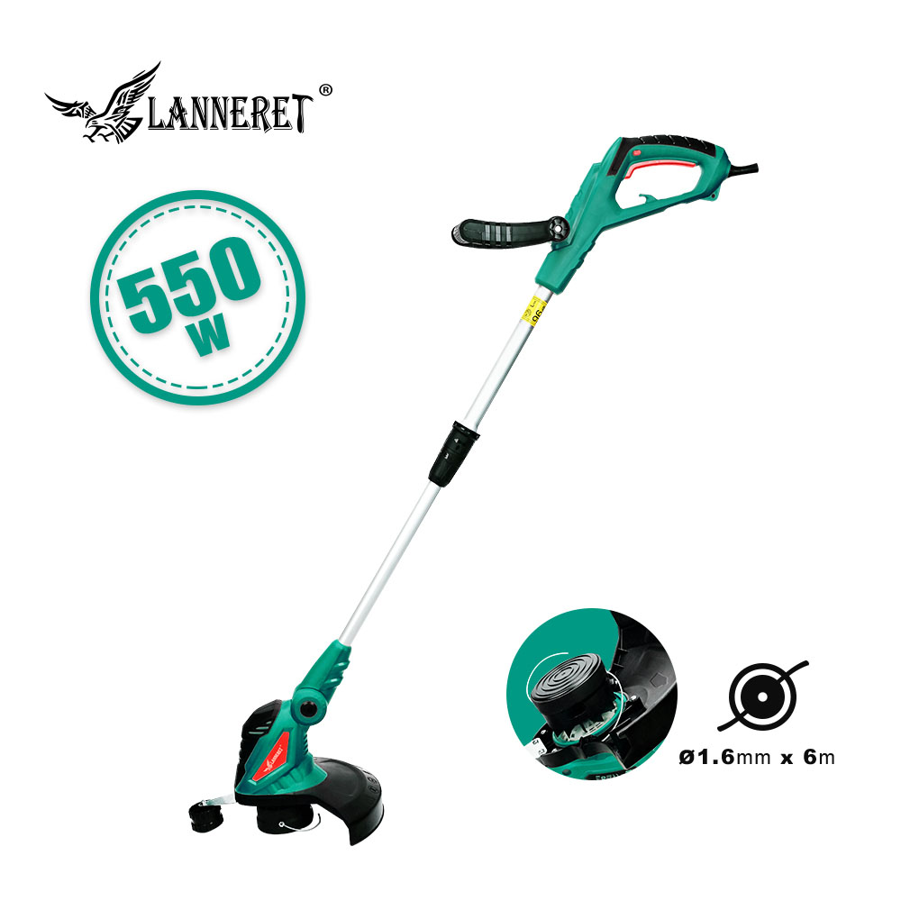 LANNERET 550W Electric Grass Trimmer Hand Cleaner Grass Cutter Machine Line Trimmer Ajustable Shaft Rotation Tube Garden Tool