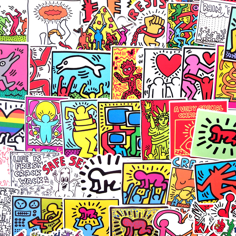 50Pcs/Lot Keith Haring Stickers For Decal Snowboard Laptop Luggage Car Fridge Car- Styling Sticker