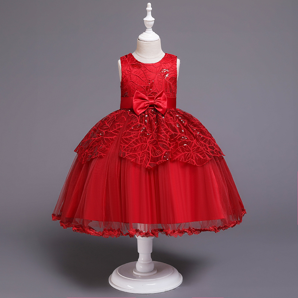 Children Sleeveless Sequin Girls Performance Dress Infants Child A Year Of Age Bow Gauze Puffy Princess Skirt