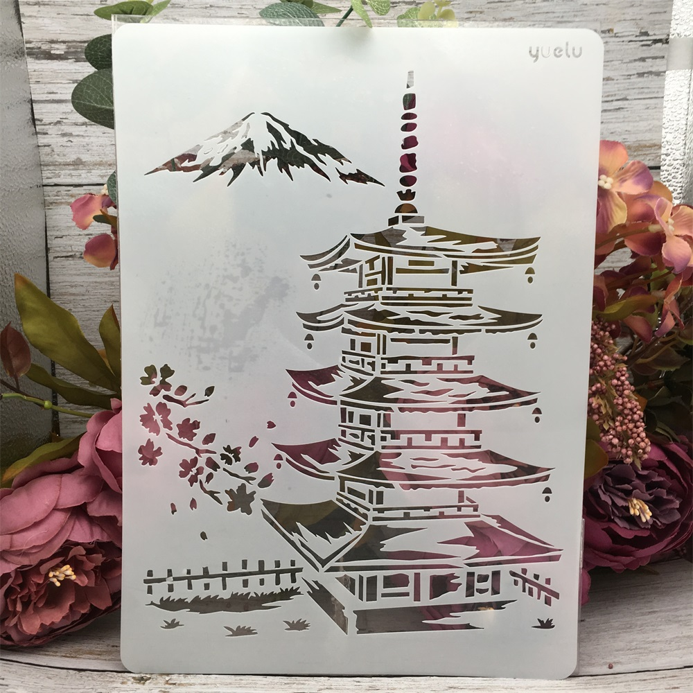 1Pcs A4 29cm Asia Tower Mountain DIY Layering Stencils Wall Painting Scrapbook Coloring Embossing Album Decorative Template