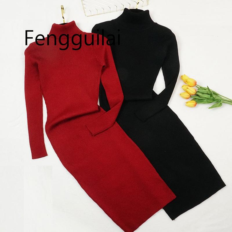 FENGGUILAI  Red Green Autumn Winter Women Knitted Dress Turtleneck Sweater Dresses Lady Long Sleeve Bottoming