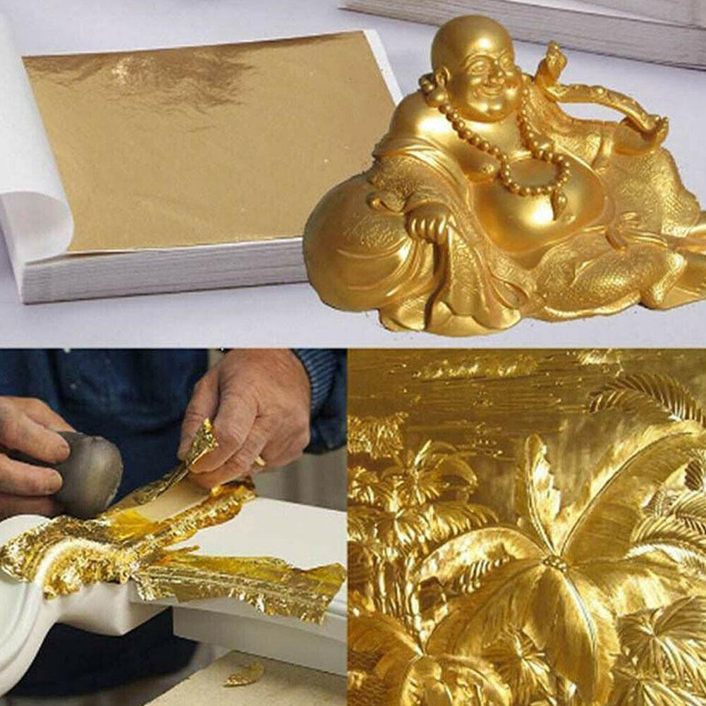 100X Gold/Silver/Copper Foil Double Sided Paper Decoration Decor Leaves Design 9*9 Sheets Paper Gilding DIY cm Crafts Leaf Q9W1