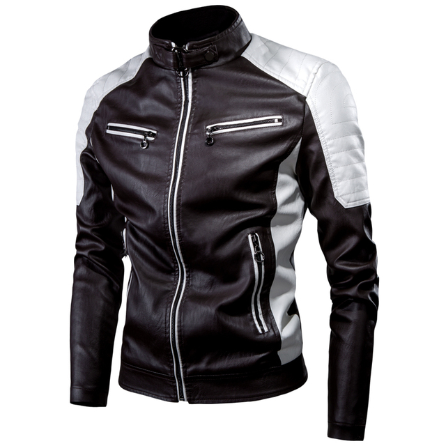 Ucrazy Men 2021 Winter Casual Motor Spliced Leather Jacket Coat Men Autumn Fashion Biker Vintage Warm Leather Jacket Coat Men 3