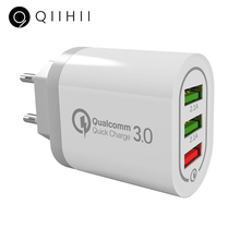 QIIHII Usb Charger Quick Charge 3.0 For Samsung Fast iphone 8 7 X XS Max 3 Port Wall Xiaomi Huawei