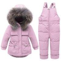 Down & Parkas Toddler Kids Baby Boy Girl Warm Hooded Down Jacket Coat Ski Bib Pants Outfits Children's Clothing Drop Shipping