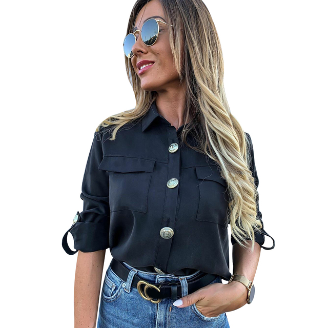 Military Top Ladies Casual Button Blouse Blusa Feminina Women Shirts With Pocket Blouse Offices Lady Blouse Chemisier Femme D30 4