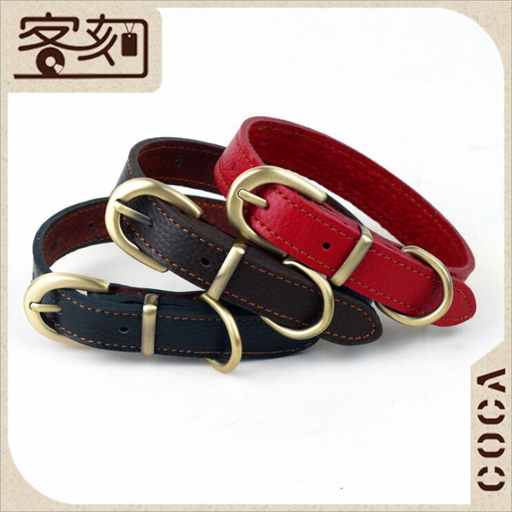 Factory Price Pet Supplies Import Cowhide Small Dogs Neck Band 2.0 Cm Dog Genuine Leather Neck Ring