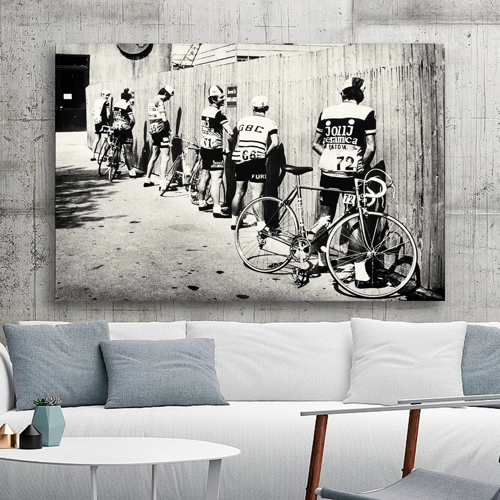 Wall Art Canvas Painting Cyclist Print Vintage Photo Poster Gift for Bathroom Decor Painting