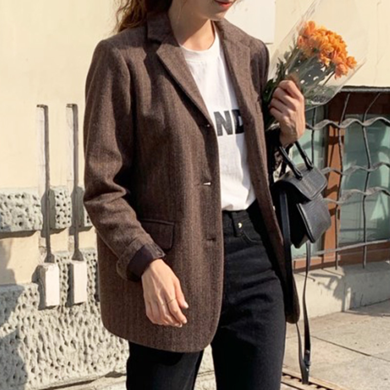 Vintage Blazers Single Breasted Tweed Basic Coat Women 2019 Winter Korean Notched Collar Long Sleeve Outerwear Casual Suit Coat