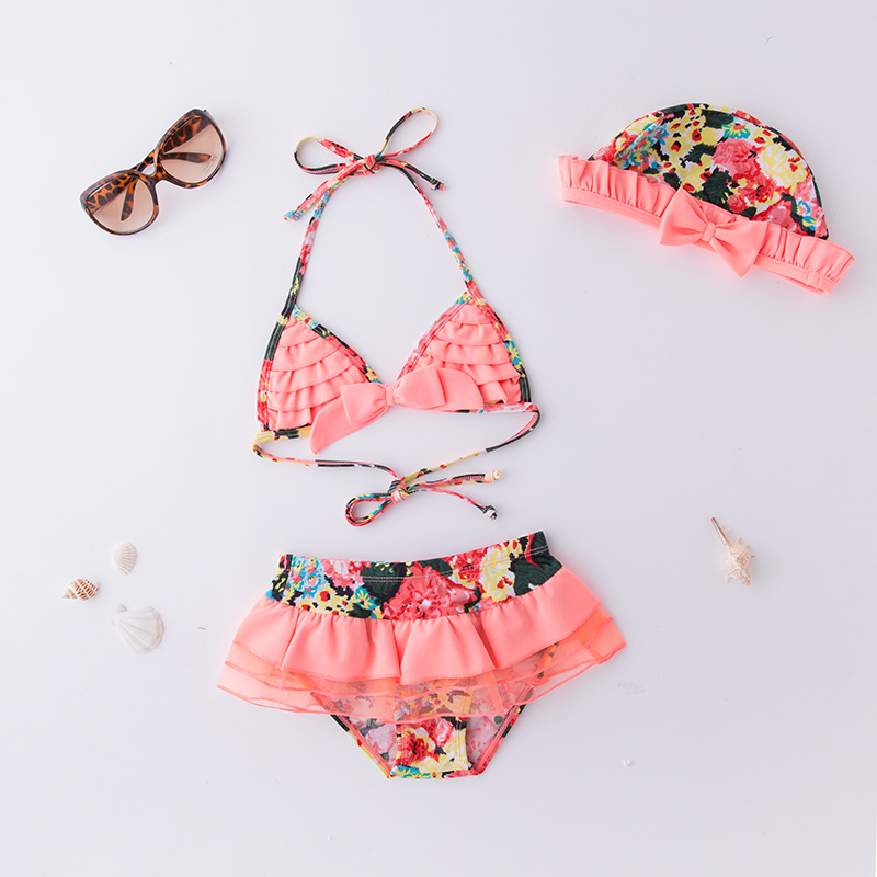 Girls' Two-piece Swimsuit Orange Flower Yarn Sideband Hat-KID'S Swimwear Hot Springs Clothing