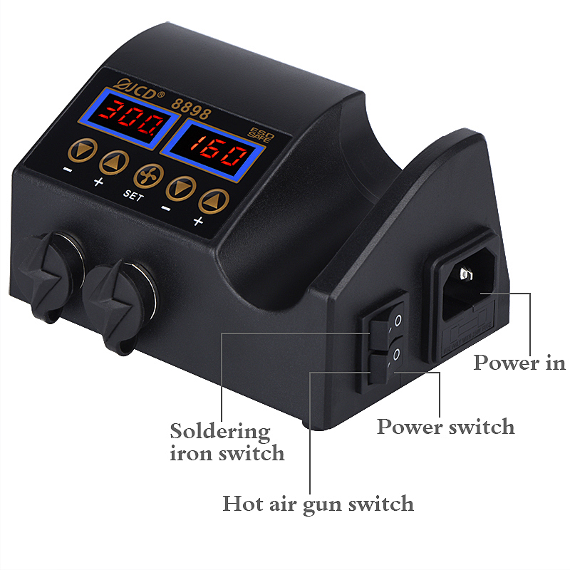 home improvement : 2 in 1 750W hot air gun LCD Digital display welding rework station for cell-phone BGA SMD PCB IC Repair solder iron hairdry 8898