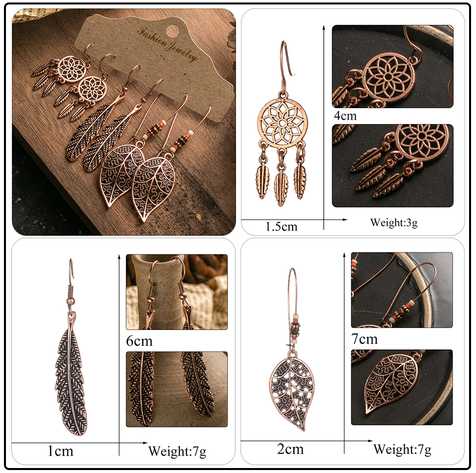 Ethnic Rose Gold Metal Tassel Fringe Womens Earrings Sets Jewelry Bohemia Vintage Round Circle Leaf Butterfly Geometric Drop Earrings Dropshipping Wholesale (14)