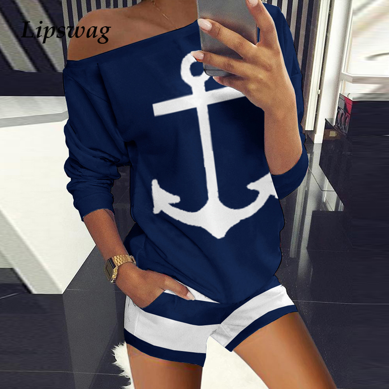 Sexy Off Shoulder Tops And Striped Shorts Suits Spring Summer Women Two Piece Sets Causal Printed Tracksuit Sportswear Outfit XL