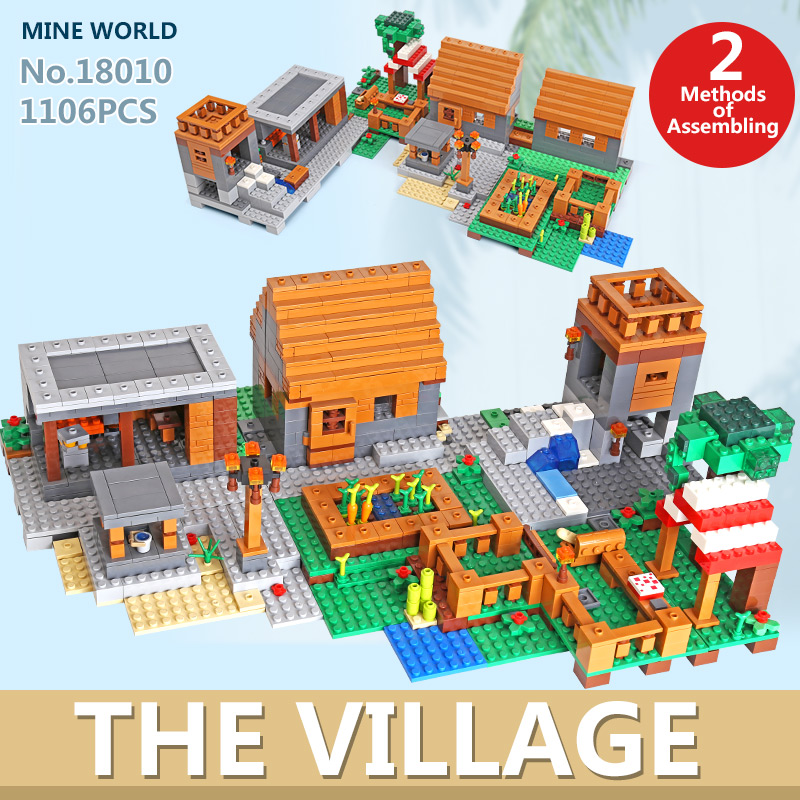 18010 My World Toddlers Iron Golem Kids Toys Mountain Cave Building Blocks Brick Compatible With 21128 Christmas Gift Kid Toys