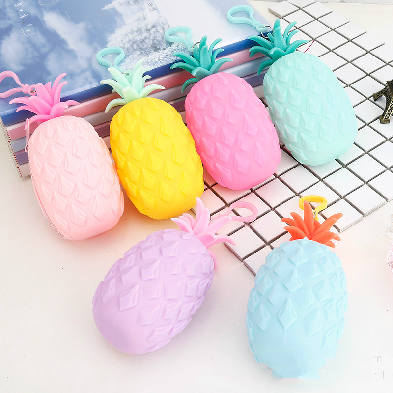 New Girls Silicone Coin Purse Creative Pineapple Mango Shape Women Portable Small Lovely Pocket Wallet Clutch Bag Gifts