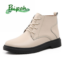PEIPAH Ladies Genuine Leather Shoes for Women Autumn Winter Ankle Oxford Boots Female Lace Up Rubber Boots Women Platform Boots
