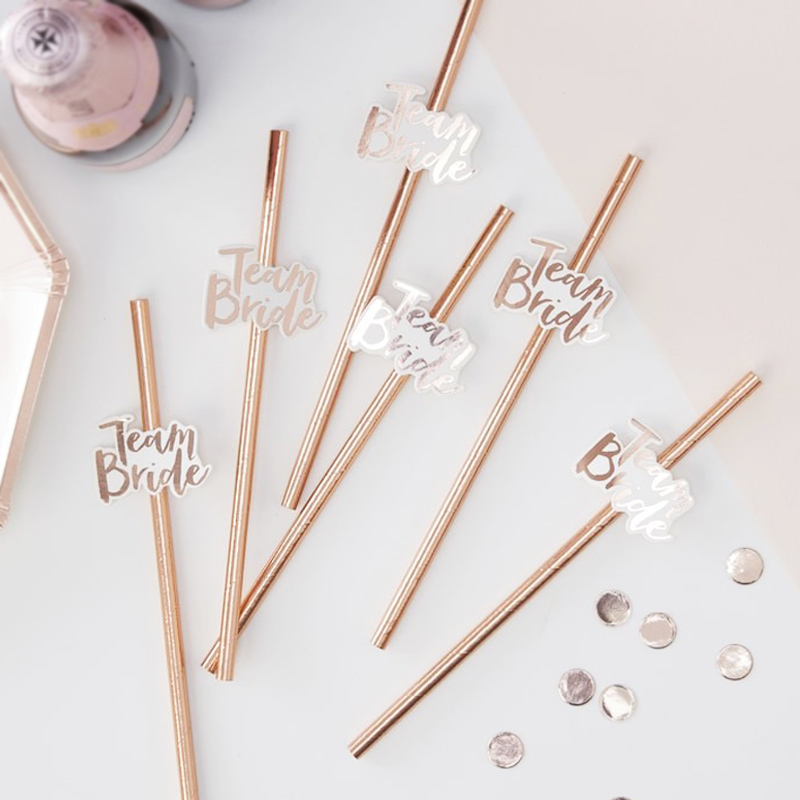 10pcs Team Bride Straws Rose Gold DIY Craft with Letter Hen Bachelorette Wedding Decoration Bride To Be Party Supplies (1)