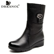 DRKANOL 2019 big size women snow boots winter mid calf wedge warm boots fashion metal rhinestone genuine leather women boots(China)