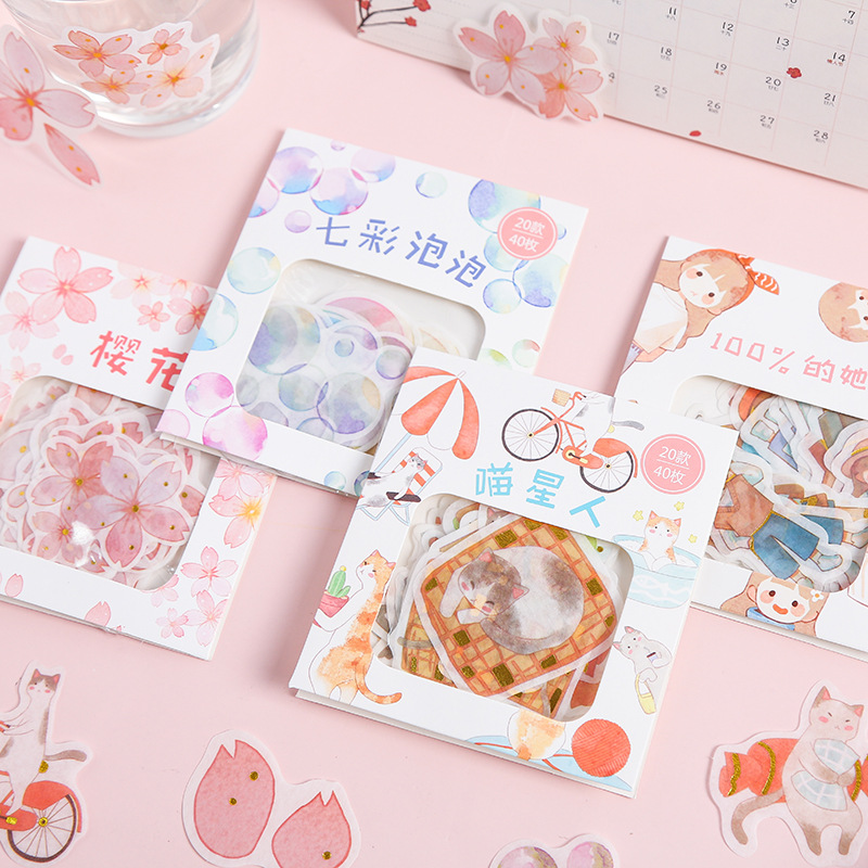 40Pcs Origional Afternoon Pastry Series Japanese Paper Sticker Package Creative Stickers DIY Decorative Stationery Supplies