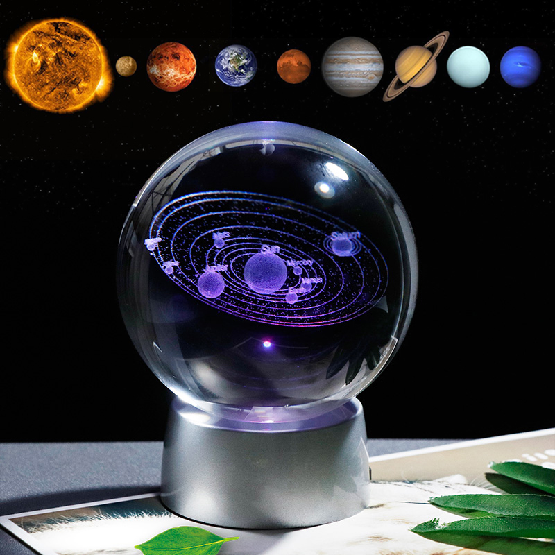 Crystal Solar System Gift Ball With Chargeable Colorful LED Base Glass Planets Ball Party Favors Home Decor Decorative Balls