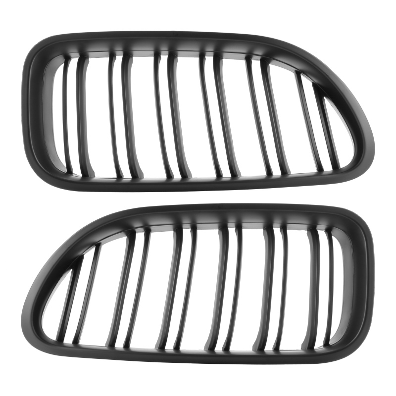 2pcs Front Kidney Grill Bumper Grill Double Slat Line for BMW 6 Series F06 F12 F13 M6 2012-2017 Matt Black Double Line image