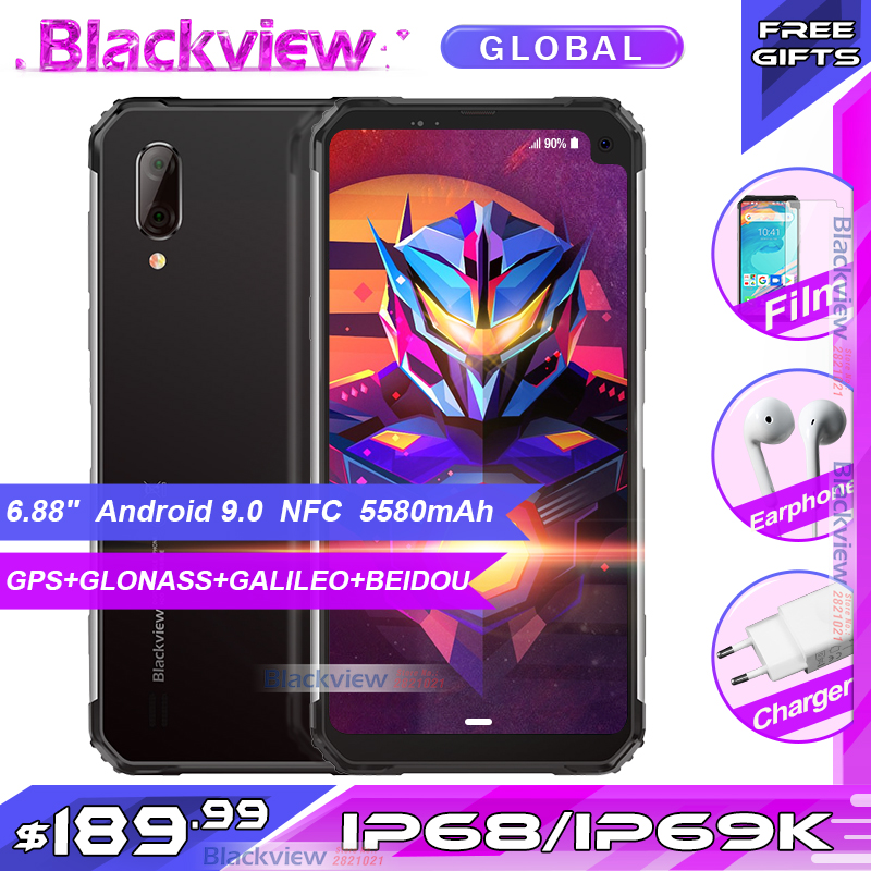 Blackview BV6100 NFC SmartPhone celular Android 9.0 IP68 IP69k 16 3GB RAM GB ROM 6.88