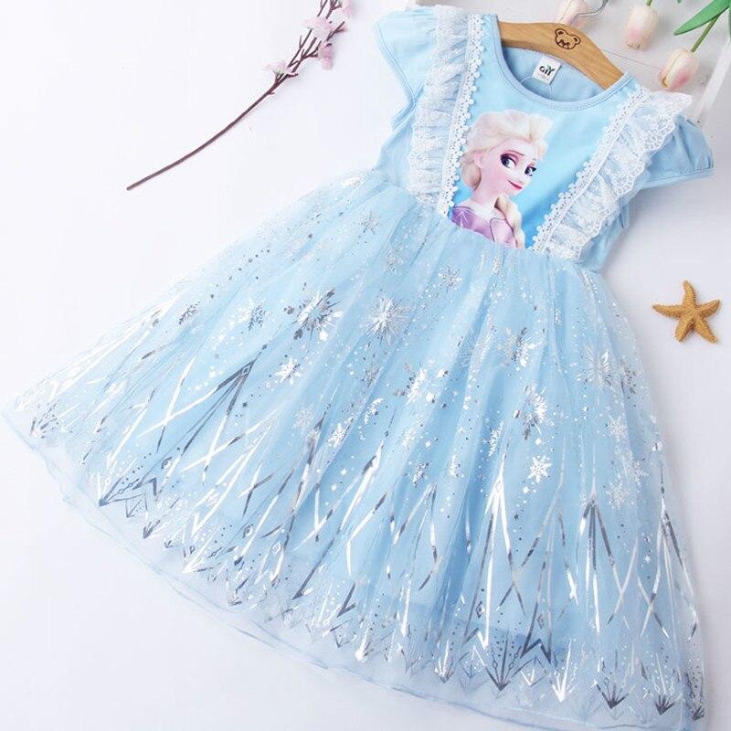 Летнее платье для девочек с изображением Анны и Эльзы; Детское кружевное платье принцессы для девочек; Вечерние костюмы для костюмированно...