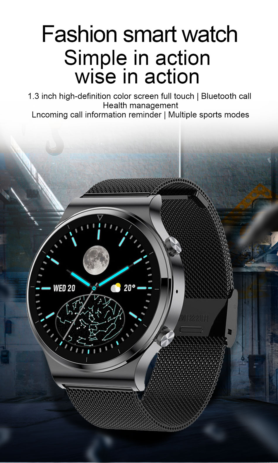 Hb326f06df11a48ffa1926baead7497abu LIGE New Smart watch Men Heart rate Blood pressure Full touch screen sports Fitness watch Bluetooth for Android iOS smart watch