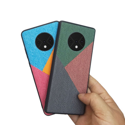 For OnePlus 7T Pro Case Soft TPU edge+Hard Cloth texture Fashion protective Back Cover Case for one plus 7t oneplus7t 1+7t