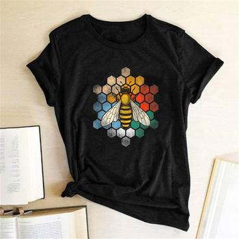Kobieta koszulki pszczoła Honeycomb drukuj koszulki kobiety lato graficzne koszulki w stylu Harajuku koszulki z nadrukami kobiety koszulki Mujer koszula tanie i dobre opinie REGULAR Sukno CN (pochodzenie) Modalne NONE tops Z KRÓTKIM RĘKAWEM SHORT Dobrze pasuje do rozmiaru wybierz swój normalny rozmiar