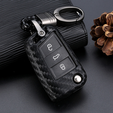 цена на For Volkswagen VW Golf 7 GTI R MK7 Tiguan Carbon Fiber Car Key Bag Shell Holder Fob Keyring Keychain Car Key Case Cover