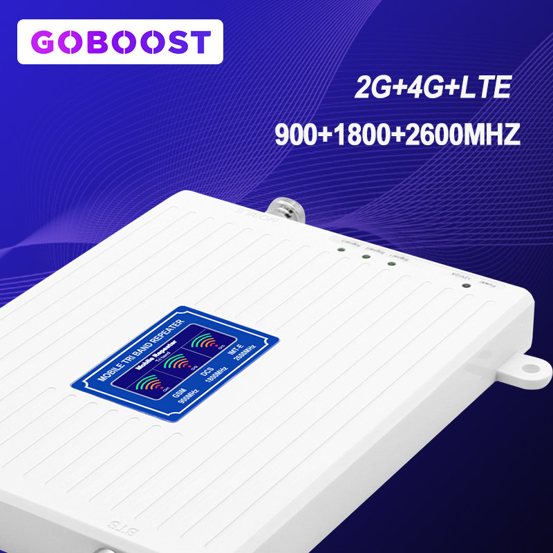 70dB GSM Repeater 2G 3G 4G Cellular Signal Booster Singal 900 1800 2600 4G LTE  Tri Band Mobile Phones Amplifier 3G Repeater -