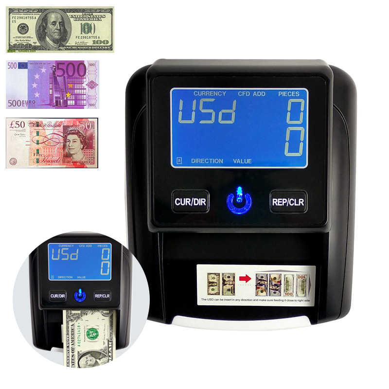 Free Shipping Uv LED/LCD Lamp Display Handy Banknote Detector USD/EUR/GBP/RUB/BRC Fake Money Euro Detecting Machine Bill Counter