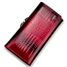 HH Fashion Alligator Womens Wallets Luxury Patent Crocodile Genuine Leather Ladies Clutch Purse Hasp Long coin  purses