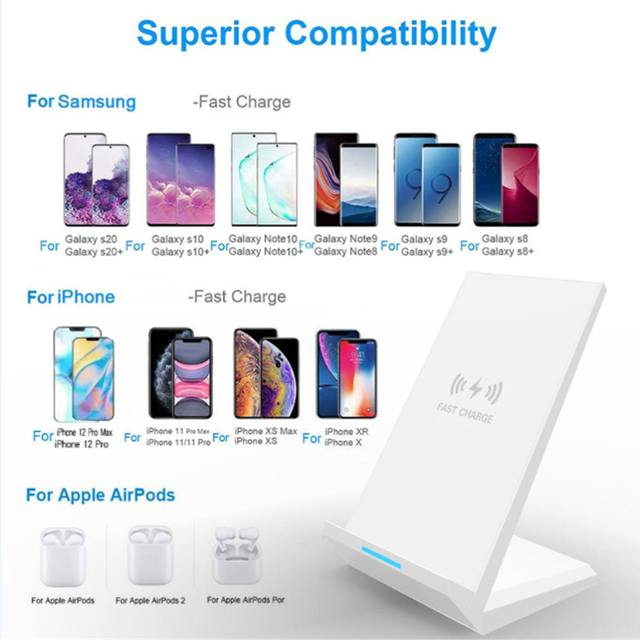 35W Qi Wireless Charger Stand For iPhone X XS MAX XR 11 Pro 8 Samsungs S20 S10 S9 Fast Charging Dock Station Phone Charger 2