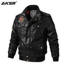 AKSR 2019  Autumn and Winter Mens Leather Jacket  Motorcycle Thick Warm Coat High Quality Outerwear Faux Fur Male Jackets