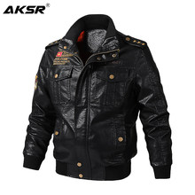 AKSR 2019 Autumn and Winter Men's Leather Jacket Motorcycle Thick Warm Coat High Quality Outerwear Faux Fur Male Jackets(China)