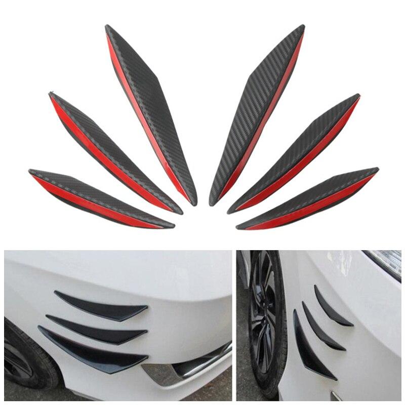 6Pcs/Set Universal Black ABS Carbon Fiber Car Styling Accessories Front Bumper Lip Rubber Fin Splitter Spoiler Canard Sticker|Bumpers| - AliExpress